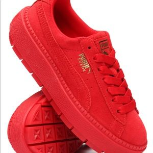 Red Suede Puma Platform Sneakers